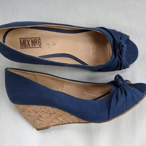Navy Blue Peep Toe Wedges